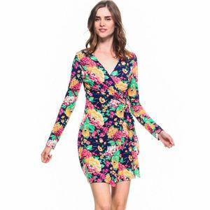 Dresses & Skirts - Knit Long Sleeve Floral Wrap Dress